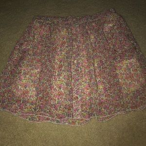 Flowery multi colored sheer skirt with underlining